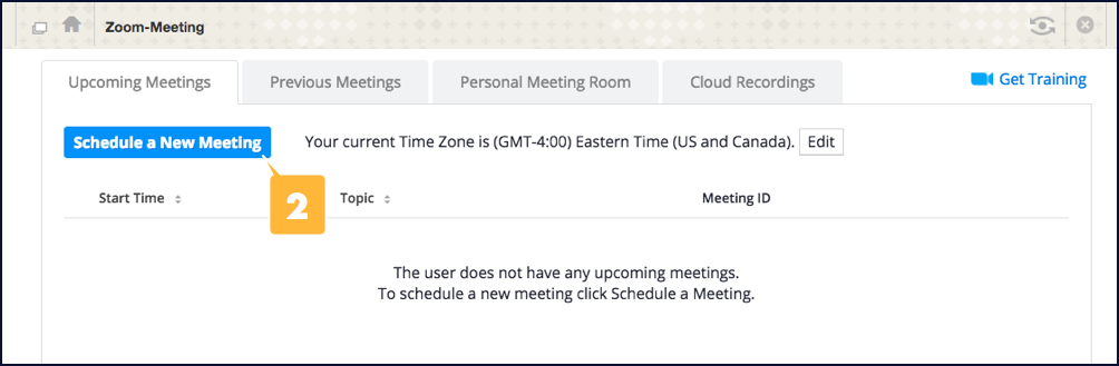 Screenshot showing the location of the button for creating a new Zoom meeting