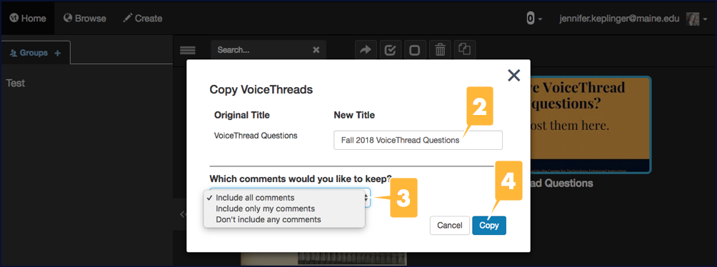 Screenshot showing the options for copying a VoiceThread presentation