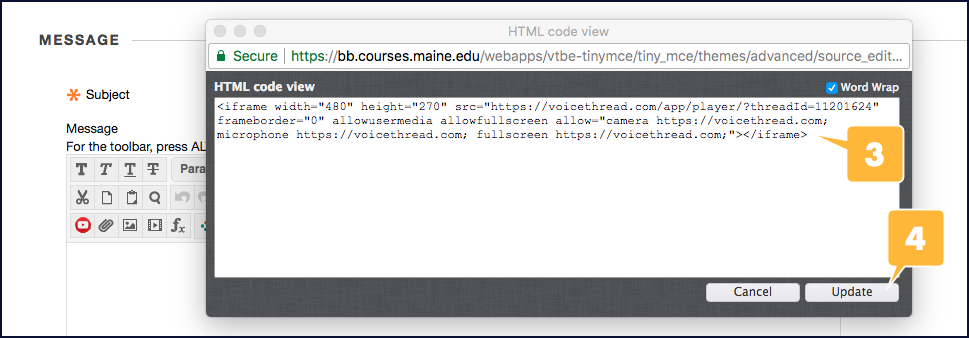 Screenshot demonstrating how to paste an embed code into Blackboard