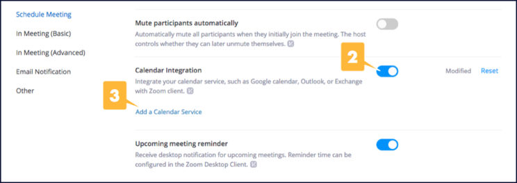 Screenshot showing the location of calendar integration settings in your Zoom account