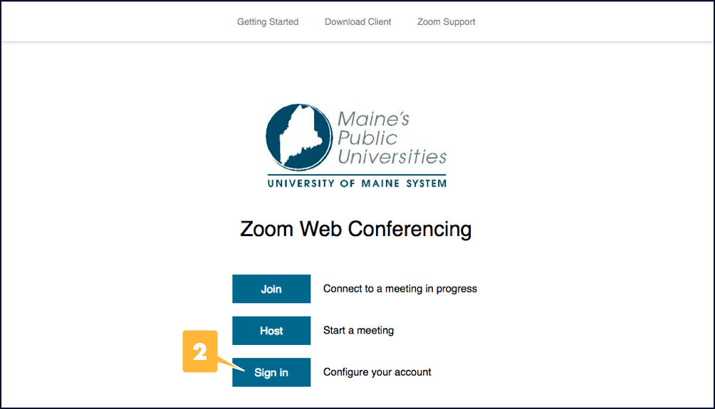 Screenshot showing the Sign In button on UMS's landing page for Zoom