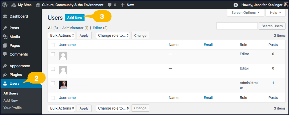 Screenshot showing how to add a new user account in WordPress