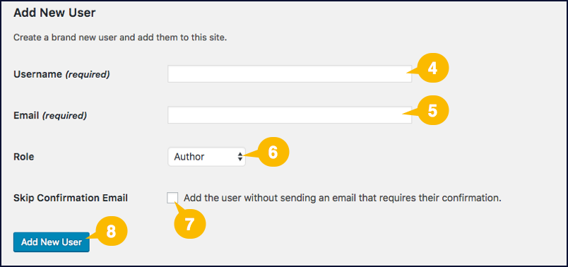 Screenshot showing the fields for a new user account in WordPress