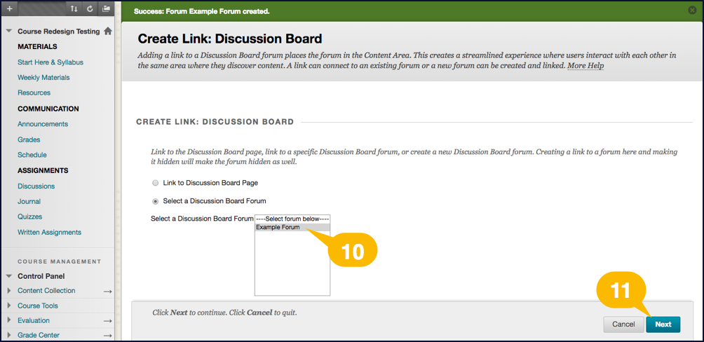 Screenshot showing options for creating a link to a new discussion forum
