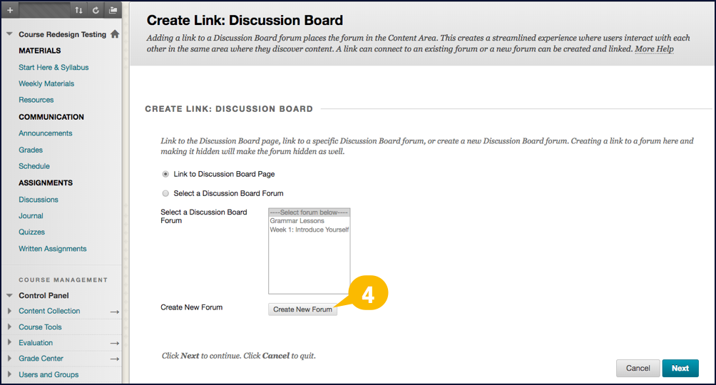 Screenshot showing the location of the Create New Forum button