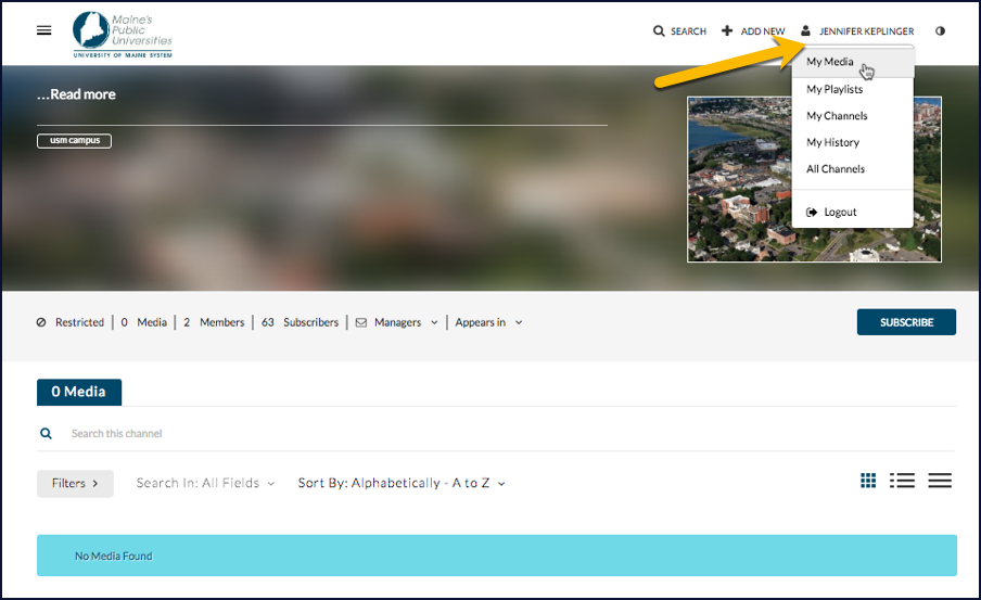 Screenshot showing the location of the link to your videos in Kaltura
