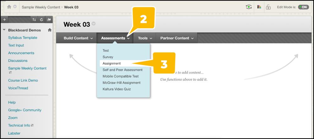 Adding an Assignment to a Content Folder